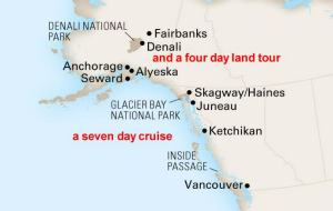 The 2017 map of the Spirit of the West Alaska Crusie